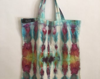 New tie dye tote bag/ hand dyed/ farmer market/ small tote/ festival/ psychedelic/ hippie/ trippy