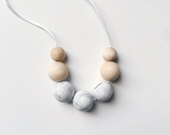 MODO Marble Necklace // Teething // Teething Necklace // Nursing Necklace // Silicone Beads // 100% Food Grade Silicone // Modern Jewellery