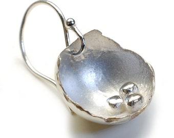 Silver Earrings, Organic Earrings, Silver Pod Earrings, Organic Silver Earrings, Sterling Silver Earrings, Nixin