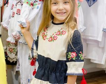 Linen Embroidered Dress  Ukrainian Vyshyvanka Dress for girls