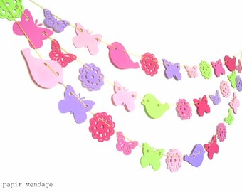 Easter Garland, Spring Garland, Birds, Butterfly & Vintage Doilies, Spring Decorations,Spring Wedding, Baby Shower,  Happy Colors