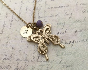 Butterfly Necklace, Initial Necklace, Hand stamped Necklace, Friendship Necklace, Handmade Jewelry, Bridesmaid Gift, Gift for Her