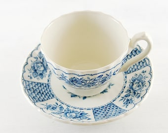 vintage tea cup and saucer, blue and white floral pattern,feminine country style.shabby chic, swedish navy