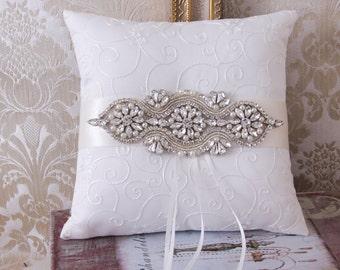 Wedding Ring Bearer Pillow, Rhinestone Wedding Pillow, Rhinestone Ring Bearer, White or Ivory Ring Pillow, Wedding Pillow