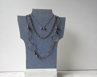 SALE One Necklace Bust Reversible - Chambray Denim Blue / Antique paper  - Recycled Book Necklace Jewelry Display - Ready to Ship
