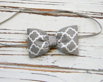 Grey Bow Headband - Newborn Bow Headband - Baby Grey Bow Headband