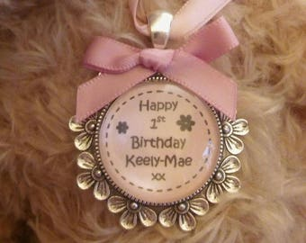 Custom made Baby Girl Pink Childs Birthday 1st, 2nd, 3rd,.... Pendant Keepsake Charm  Card Alternative