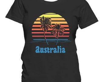 Australia Sunset Palm Trees Beach Vacation Women's T-Shirt