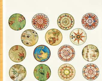Antique Map Circles Glass Fusing Decals, Enamel Decals