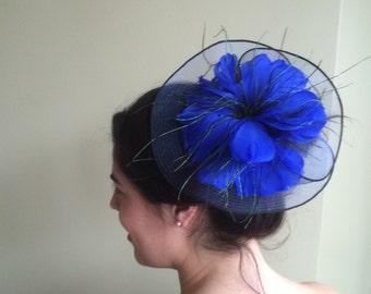 SINAMAY FASCINATOR , with Feathers, Cobalt  Blue /  F - 41
