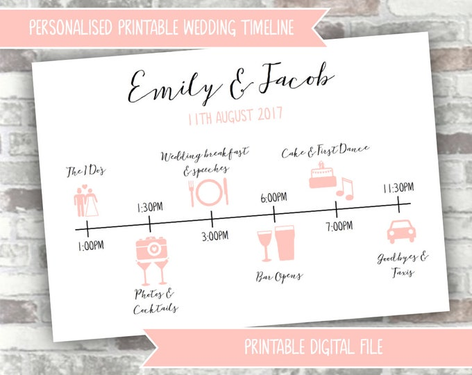 PRINTABLE Digital File - Personalised Wedding Timeline Personalized Order of the Day Card - Custom Design Wedding Itinerary Order of Service