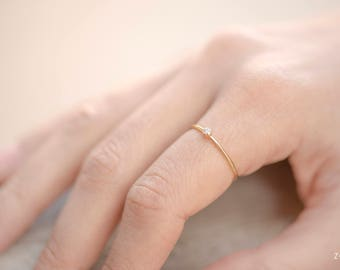 SWEDEN white dainty ring in 14k gold filled and white Zircon stone
