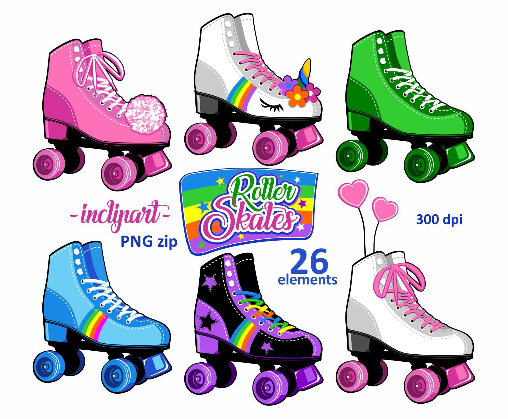 Roller Skates Clipart Party Clipart Colorful Roller