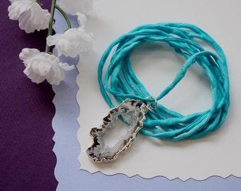 Druzy Geode Slice Necklace Silk, Small Silver Geode Necklace, Crystal, Silver Geode Slice, Silk Necklace, Natural Pendant, GSILK92