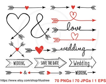 70 Wedding clip art, arrow clipart, wedding invitation, aztec, tribal, digital clipart set, commercial use, EPS, SVG, instant download