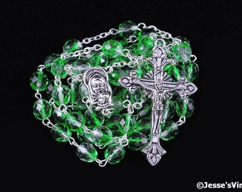 Catholic Rosary Beads Czech Glass Green & Crystal White Silver Traditional Five Decade Rosary