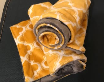 Minky Lovey-Moraccan mustard and gray