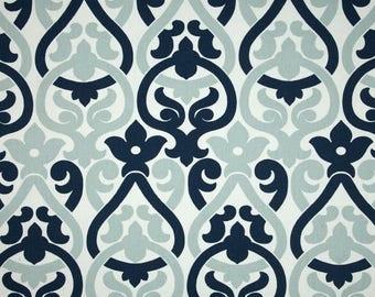 Custom made curtain panels, drapes, Premier Prints Alex, navy blue