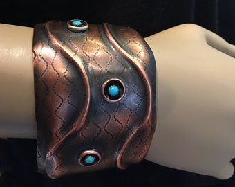 Copper Wave Cuff Bracelet with Tiny Turquoise Stones - Handmade in the USA