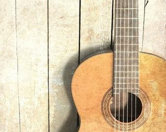 "Guitar Art, Guitar Photography, Music Lover Art, Acoustic Guitar Print, Vintage Guitar Photo, Old Guitar Wall Print -""Guitar One"""