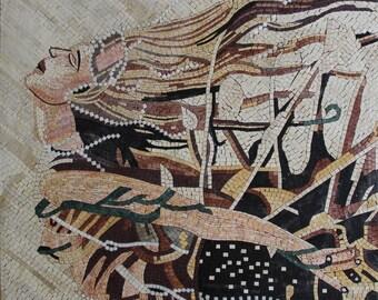 Fantasy Sentimental Blond Girl White Pearl Art Marble Mosaic FG585