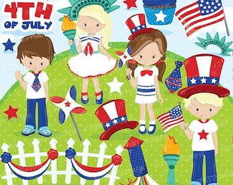 80% OFF SALE Independence day kids clipart commercial use, 4th of July vector graphics, Patriot digital clip art, digital images - CL864