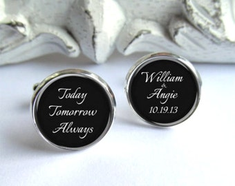Mens Cufflinks, Wedding Cufflinks, Personalized Grooms Cufflinks