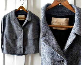 Vintage 1950S black and white tweed cropped jacket, size medium 8 10 midcentury, fifties clothing, tweed coat, vintage clothing for women