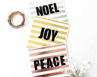 NOEL, JOY, PEACE: Minimalist Metallic Gold, Silver, and Rose Gold Handmade Christmas Cards - 3 Set