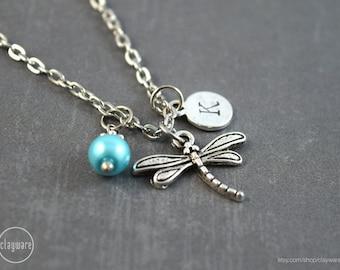 Dragonfly Personalized Necklace - Dragonfly Jewelry - Birthstone Jewelry - Dragonfly Pendant - Customized Gemstone Necklace
