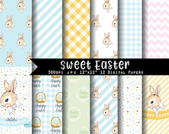 Sweet Easter Digital Paper Set  I N S T A N T • D O W N L O A D Easter Scrapbooking papers