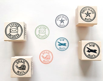 Round Snail Mail Rubber Stamps