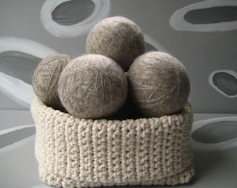 XL Large Dirty Girl Wool Dryer Balls set of 12 - gray