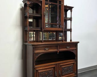 Antique Federal Carved Etagere Cabinet Bar Buffet Sideboard