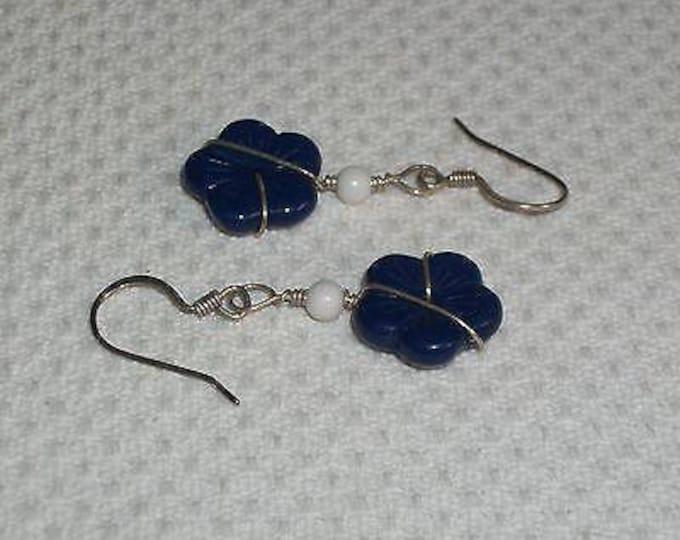 Boho Hippie Chic Blue White Glass Floral Flower Bead Handmade Drop Dangle Stainless Steel Wire Wrap Earrings