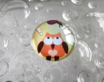 1 cabochon clear 20mm OWL theme