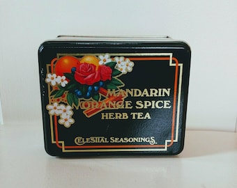 Vintage Celestial Seasoning's Mandarin Orange Tea Tin // Great Condition //