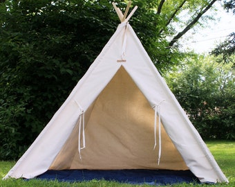 XL or XXL Natural Canvas Teepee, Two HUGE Sizes, Can Include Window and Mat, 8 foot poles, Large Teepee for Celebrations, Parties