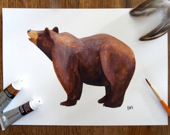 A Brown bear (looking up) Watercolour A4 Print