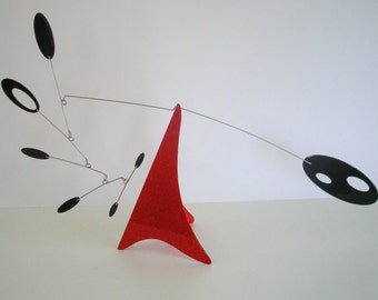 Red and Black Tabletop mobile, Calder style stabile