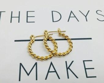 Gold hoops, Gold hoop earrings, Hoops earrings, Small gold earrings, Braid gold hoops, Plat gold hoops, Christmas gift