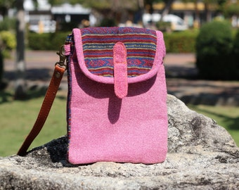 Cute Pink Womens Crossbody Wallet   Crossbody Purse   Tribal Messenger bag   Vegan Wallet   hobo Bag    Boho  crossbody Bag  Shoulder Purse