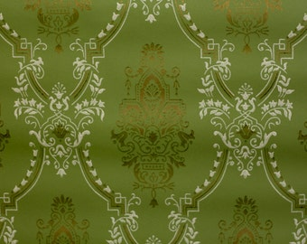 Green color soviet Retro Wallpaper by the Yard, Vintage Wallpaper, Material for needlework, Scrapbooking, Soviet vintage, antique wallpaper