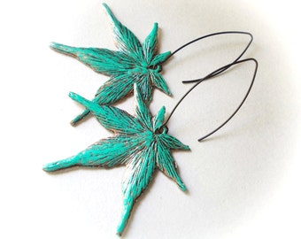 Long Maple Leaf Earrings - Verdigris blue patina on copper - extra long - black earring wires - inspired by nature - woodland - drop dangle