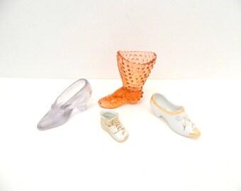 1940s - 1970s Glass Shoe LOT...LOT of 4 Porcelain & Glass Decorative Shoes...Fenton Japan...Collectible Shoes...Miniature Shoes