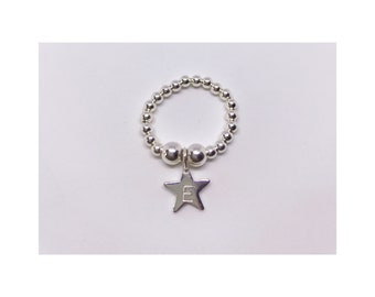 Personalised sterling silver 925 star ring