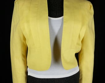 Vintage 80s City Girl yellow cropped jacket Made in California USA Size 9 10 chest 40