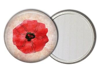 Red Poppy Flower Pocket Mirror Purse Makeup Mirror