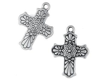 Silver Cross Pendants - TierraCast Talavera Cross Pendant Charm - Antique Silver Pendant - Rosary Cross (P843)