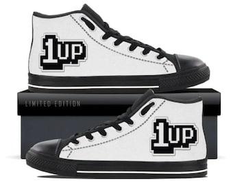 Video Game 1 Up Print Hi Top Gamer Sneakers